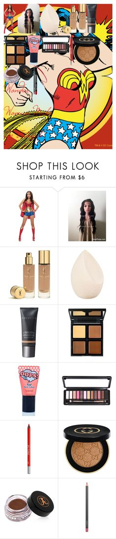 """""""Wonder Woman Make Up Tutorial"""" by oroartye-1 on Polyvore featuring beauty, Yves Saint Laurent, Christian Dior, Cover FX, e.l.f., BERRISOM, Urban Decay, Gucci, Anastasia Beverly Hills and MAC Cosmetics"""