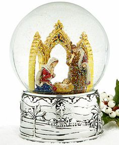 Reed & Barton Snow Globe, Oh Holy Night Cathedral Nativity