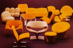 A grandfather of contemporary design, Pierre Paulin was the first to use to stretch fabrics; he was an innovator who became an institutional designer. Paulin's commissions included renovating the Pompidou's … 1970s Furniture, Vintage Furniture, Orange Furniture, Chair Design, Furniture Design, Mushroom Chair, Contemporary Design, Modern Design, Pierre Paulin