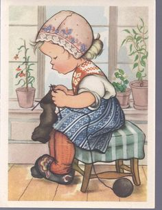 M320 Vintage Unused  Greeting Card by Ars Sacra Girl knitting. $3.00, via Etsy.
