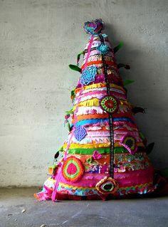 Boho upcycled Xmas tree