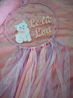 Personalised pink dream catcher cat