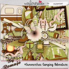 #SummerFun: Camping Adventure - a part of summer fun series from Designs By Romajo. Do you like to camp? Going into the great outdoors with nothing more than your hikingboots, walking stick and a daypack? If so, don't forget to bring your waterbottle, bugspray and a compass.  Have your kids been on summer camp? Did they enjoy the bonfires, roasting marshmellows and eating their smores? Or did they put up the tent in the backyard for some sleepingbag fun close at home? is perfect to scrap…