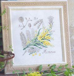 Cross stitch - flowers: botanicals - Acacia dealbata - mimosa (free pattern with chart)