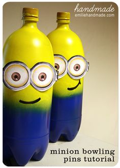 Despicable Me: Minion bowling pins    http://pluckymomo.blogspot.com/2011/03/despicable-me-party-games-and-favors.html     Minion Bowling    The kids each got two turns to hit down all of the pins with a regular ball purchased at Wal*Mart.   Next download her printable goggles.