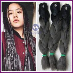 FRETE GRÁTIS 10 pacotes de extensões de cabelo ombre cor cinza escuro caixa trança tranças sintético kanekalon cor preto + cinza escuro cabelo