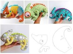 Iguana-molde Grátis para feltro e tecido Sock Monkey Pattern, Homemade Stuffed Animals, Diy Teddy Bear, Cat Quilt, Stuffed Animal Patterns, Animal Sewing Patterns, Doll Patterns, Sewing Toys, Animal Crafts