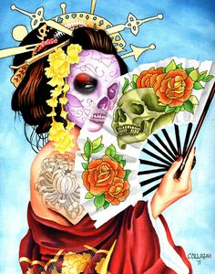 Geisha skull fan by GregColligan on Etsy. $30.00 USD, via Etsy.