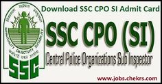 SSC CPO SI Admit Card 2017 Sub Inspector Hall Ticket