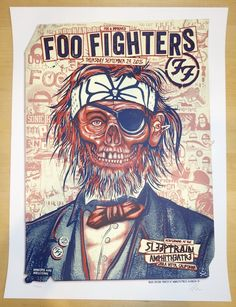 "Foo Fighters - silkscreen concert poster (click image for more detail) Artist: Zoltron Venue: Sleep Train Amphitheatre Location: Chula Vista, CA Concert Date: 9/24/2015 Size: 18"" x 24"" Edition: 375, s"