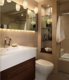 Find small bathroom ideas for bathroom remodel and bathroom modern, bathroom design, bathroom vanity, bathroom inspiration and more with before and after bathrooms Read Recessed Shelves, Built In Shelves, Built In Storage, Glass Shelves, Wall Shelving, Built Ins, Wall Storage, Open Shelves, Mirror Shelves