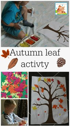 Autumn fall leaves sticking activity perfect for toddlers and preschoolers. This kids crafts is great for working on fine motor skills with fall