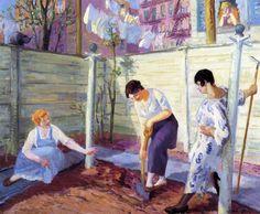 John Sloan >> Spring Planting, Greenwich Village     (Oil, artwork, reproduction, copy, painting). 1913  Wahoo Art