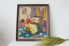 Vintage cross stitch large framed wall art lady by MossAndBerry, $38.00