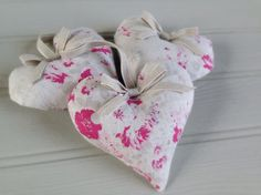 Lavender heart in Peony  Sage ~ Fleur handmade by Clarabelle Interiors