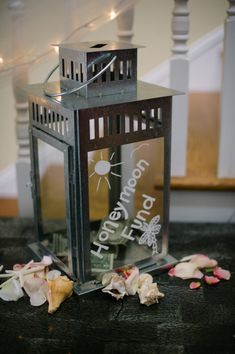 Frost the glass put a flameless candle in it then put a sign in front. And you can reuse it later. Wedding Guest Book, Our Wedding, Honeymoon Fund, Hawaiian Theme, Gift Table, Time To Celebrate, Love And Marriage, Perfect Wedding, Real Weddings