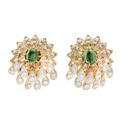 Green Tourmaline Diamond Gold Earrings Circa 1950-1960 - petersuchyjewelers