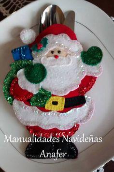 Portacubiertos Navideños     Una excelente forma de decorar la mesaguardando los cubiertos dentro de él.   Modelos hechos en fieltro, cosi...