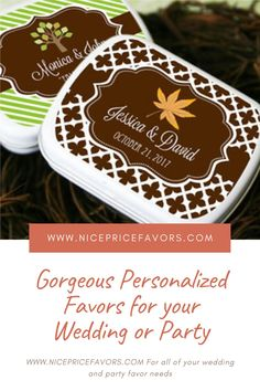 Gorgeous Personalized mint tins. The beautiful/customizable mint tins are the perfect favor to forever commemorate your wedding, anniversary, birthday, baby shower or bridal shower. Do not miss out on these gorgeous and affordable favors from nicepricefavors.com! Edible Wedding Favors, Wedding Shower Favors, Bridal Shower Gifts, Baby Shower Favors, Sweet 16 Party Favors, Sweet 16 Parties, Anniversary Party Favors, Wedding Anniversary, Mint Tins