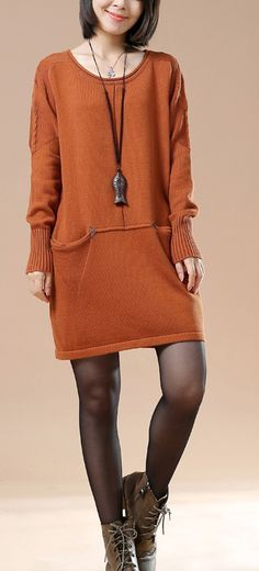 Plus size sweaters in orange with pockets 2016 design
