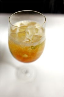 white wine, rum, ginger, lime and ice. oh yum!