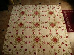 Old red and green quilt, lovely
