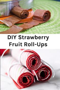 Homemade Strawberry Fruit Leather - Homemade fruit leather, turned into healthy fruit roll ups your kids are going to LOVE. This healthy snack will be a new family favorite for lunch or snack time. Fruit Juice Recipes, Easy Smoothie Recipes, Vegan Dessert Recipes, Fruit Smoothies, Homemade Fruit Leather, Fruit Leather Recipe, Pasta Primavera, Texas Chili, Clean Eating Challenge