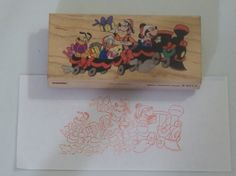 MICKEYS CHRISTMAS Express Train Rubber Ink Stamp Used http://AJunkeeShoppe.Webstore.com