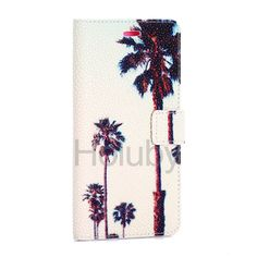 Pearl Pattern Wallet Magnetic Flip Stand TPU + PU Leather Case for Samsung Galaxy S6 Edge Plus - Coconut Tree