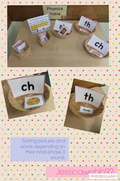 Sorting pictures and words by phase three initial sounds. Phonics Rules, Jolly Phonics, Teaching Phonics, Kindergarten Literacy, Early Literacy, Guided Reading Activities, Motor Skills Activities, Phonics Activities, Lyrics