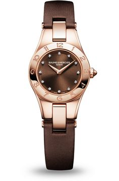 Discover the Linea 10090 Ladies red gold and diamond watch, designed by Baume et Mercier, Swiss Watch Maker.