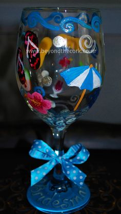 Personalized Hand Painted Wine Glass for Bridesmaid