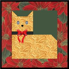 "Christmas quilt blocks | Quilt Blocks: 12"" Square Cat Quilt Block Pattern"
