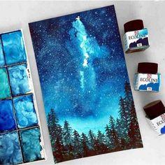 pintura con acuarelas tonos frios cielo noche bosque
