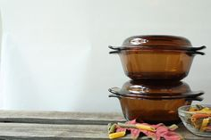 Vintage Casserole Dishes Fire King Anchor Hocking Set, Amber Glass Cookware
