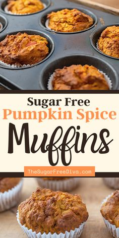 Yummy recipe for sugar free pumpkin spice muffins. The perfect breakfast, brunch, dessert or snack recipe for fall, halloween, holiday season. Thanksgiving breakfast favorite! Easy To Make Breakfast, Sweet Breakfast, Perfect Breakfast, Breakfast Recipes, Fall Recipes, Beef Recipes, Low Carb Recipes, Snack Recipes, Muffin Recipes