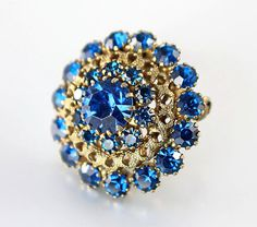 Vintage Sapphire blue Rhinestone Brooch Domed by RMSjewels on Etsy, $24.00