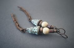 rustic tribal earrings • copper chain fringes • boho earrings • blue patina • Jasper • Picasso glass bead • boucles d'oreilles tribales