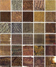 Tissages celtiques de l'âge de fer (fin de l'âge de bronze)... Echantillons de tissus trouvés en Hallstatt. Museum d'Histoire Naturelle de Vienne.