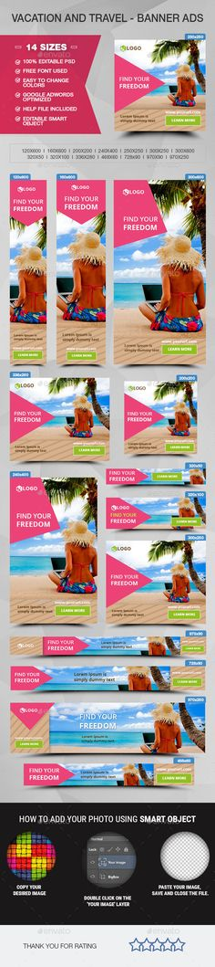 Vacation and Travel Web Banner Template PSD #ad #promotion #design Download: http://graphicriver.net/item/vacation-and-travel-banner-ads/14278225?ref=ksioks