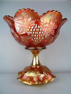 Many Fruits by Dugan Splendid Marigold Carnival Glass Punch Bowl Base Cut Glass, Glass Art, Vases, Punch Bowl Set, Cranberry Glass, Antique Glassware, Rainbow Glass, Imperial Glass, Stained Glass Designs