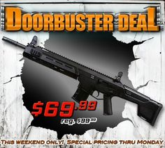 Doorbuster Deal:  Crosman MK-177 Tactical Pneumatic Air Rifl $30 off!  Adjustable power & 300 BB reservoir Shoots BB's and pellets! http://www.pyramydair.com/s/m/Crosman_MK_177_Tactical_Pneumatic_Air_Rifle_Black/3180?utm_source=pinterest&utm_medium=social&utm_campaign=airg-eblast-doorbuster-deal-crosman-mk-177-tactical