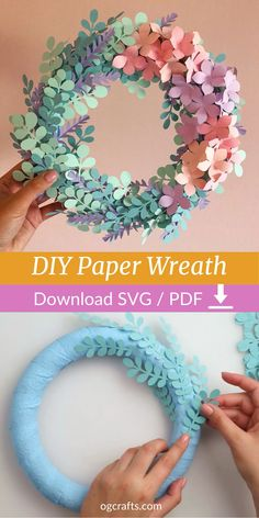 Paper Flower Wreaths, Paper Flowers Craft, Paper Crafts Origami, Flower Crafts, Diy Flowers, Diy Crafts With Paper, Paper Flower Patterns, Paper Flower Art, How To Make Paper Flowers