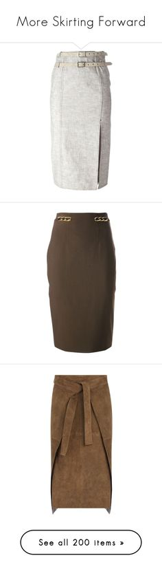 """""""More Skirting Forward"""" by happilyjynxed ❤ liked on Polyvore featuring skirts, bottoms, pencil skirts, grey, pencil skirt, high waisted knee length skirt, high-waisted pencil skirts, grey skirt, grey knee length skirt and brown"""