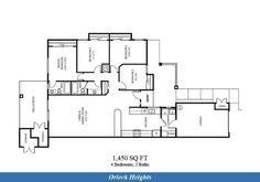 Naval Complex San Diego – Orleck Heights (Murphy Canyon) Neighborhood: 4 bedroom 2 bathroom home floor plan.
