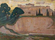 Modern Art, Contemporary Art, Greece Painting, Athens Acropolis, Art Articles, Painter Artist, 10 Picture, Greek Art, Abstract Landscape