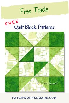 The FREE TRADE quilt block is a good choice for a beginner quilter as it features just a few half square triangles and flying geese patches to get you started. House Quilt Patterns, Quilt Square Patterns, Beginner Quilt Patterns, Quilt Block Patterns, Pattern Blocks, Half Square Triangle Quilts, Square Quilt, Easy Quilts, Mini Quilts