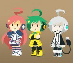 Tags: Anime, Pixiv Id 3304725, Vocaloid, Miki, Utatane Piko, Sonika, Brown Background
