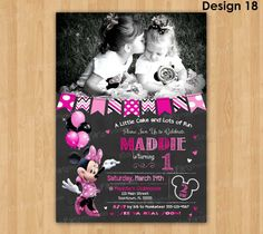MINNIE MOUSE First Birthday Invitation, PRINTABLE Minnie Mouse Invitation, Pink Birthday Chalkboard Photo Invite Party 1st First Bday Girl