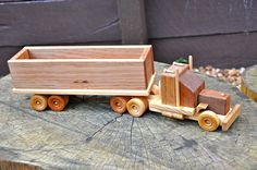 Wooden Toy Truck with box trailer by 2CheekyMonkeysAndMe on Etsy, $65.00